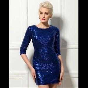 Dresses & Skirts - 👗💥Elegant Blue Sapphire Sequins Plus Size Dress.